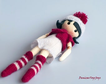 Mary. The Doll. - pdf knitting pattern. Knitted round. Bead jointed doll.
