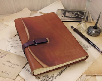 leather journal with vintage style paper in orange brown, leather blank book, travel notebook