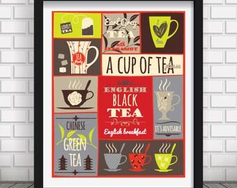 Cup of Tea print art,Tea time print,tea types,tea poster, modern tea print,wall print,tea time poster,wall decor,tea cup print
