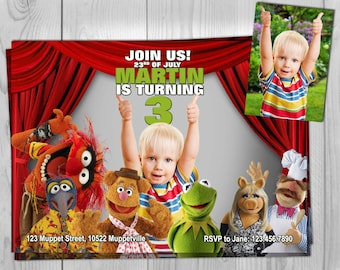 The Muppets Invitation - The Muppet Show Birthday Invitation - Muppet Movie Invite - Customizable by Printadorable