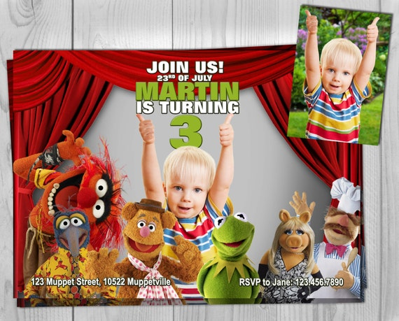 The Muppets Invite - Muppets Invite - Muppets Invitation - The Muppet Show - Muppet Movie - Muppets Birthday - Muppets