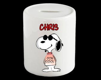 Personalised Snoopy Piggy Bank, Snoopy Money Box, cute Snoopy gift