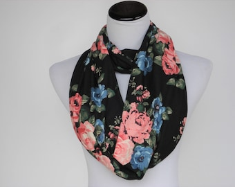 Floral Scarf Infinity scarf traditional scarf rose scarf pink coral roses black pink blue rose bouquet flowers scarf super soft loop scarf