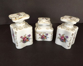 Vintage Vanity Dresser Set - Thames Made in Japan Collectible Signed Numbered White Porcelain