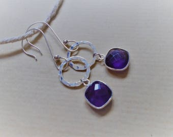 Earrings amethyst and sterling silver / / square and round