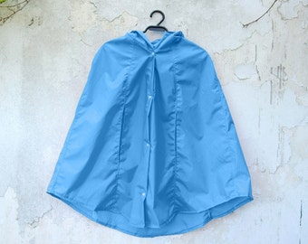 Sky Blue Rain Coat,  Vintage Inspired Cape with Hood, Waterproof, Gift For Her, Available in Violet, Green, Yellow, Orange