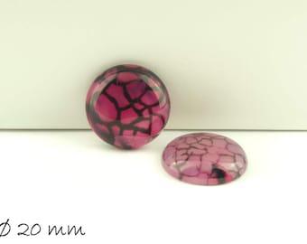 2 PCs pink cabochons, Dragon veins agate, 20 mm,