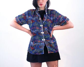 80s Asian Top L, Blue Cheongsam Chinese Blouse Iridescent Jacquard Cantonese Vintage Pajama Shirt, Large