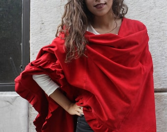 Stylish Red Suede Cape