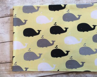 Whales on yellow Jersey pre cut 1 meter