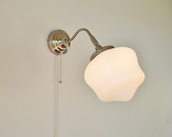 School House Sconce Lamp - Industrial Stainless Steel Gooseneck Wall Sconce - UpCycled BootsNGus Modern Lighting And Home Decor