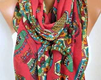 Red Owl,Bird,Cat Cotton Soft Scarf, Summer Scarf,Pareo, Oversized Scarf, Cowl Scarf, Shawl, Gift Ideas For Her, Women Fashion Accessories