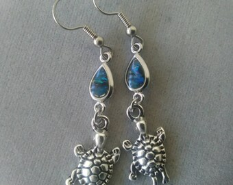 Turtle and Paua Shell Earrings