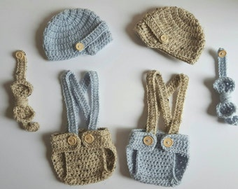 Crochet Newborn Twin Newsboy Sets - MADE TO ORDER - Oatmeal and Blue