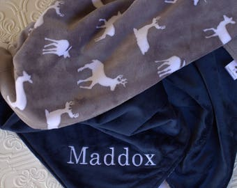 Baby Blankets,  Personalized Baby Boy Blanket with Name, Gray Deer Baby Blanket, Personalized Baby Blanket, Woodland Animals Minky Blanket