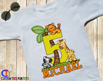Safari Animals Birthday Shirt - lion giraffe tiger personalized name age 1,2,3,4,5,6,7,8,9 - Zoo Animal Shirt - zoo shirt - Birthday Party