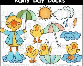 80% OFF SALE Rainy Day Ducks Clipart for Scrapbooking and Paper Crafts, Commercial Use, Weather Clipart, Duck-Themed Clipart, Instant Downlo