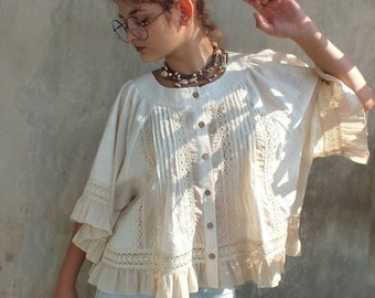 Bohemain blouse Premonition tenderness Embroidery Organic cotton Gypsy gowns Designer clothing Hippi style  Creme embroidery