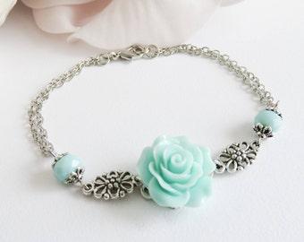 Blue Flower Bracelet, Bridesmaid Rose Bracelet, Bridal Jewelry, Vintage Style Wedding Jewelry, Junior bridesmaid Bracelet, Bridesmaid Gift