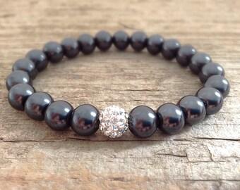 CLEARANCE, Black Pearl Bracelet, Pave Bracelet, Pearl Jewelry, Stretch Bracelet, Bohemian Bracelet, Bohemian Jewelry- LAST 2!