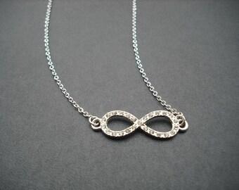 rhinestone infinity necklace