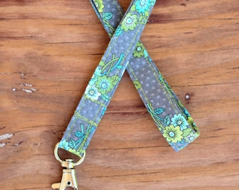 Gray Floral Lanyard, teacher appreciation, nursing student gift, id holder neck strap, custom badge holders, id key lanyard, gift for her