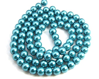 Teal Pearl Bead Strands, Pearlized Glass, Round, 36 inch Strand, Choose 4mm, 6mm, 8mm, 10mm, Hole 1mm