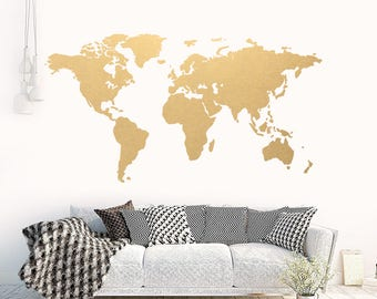 World map decal etsy world map gold modern wall gumiabroncs Images