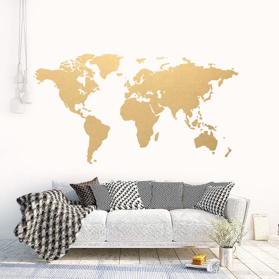 World map gold modern wall art vinyl wall sticker apartment gumiabroncs Image collections