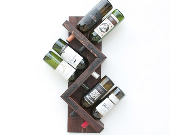 Zig Zag Rustic Wine Rack | Sturdy Wood Wall Wine Rack | Wine Storage | Wine Bottle Holder