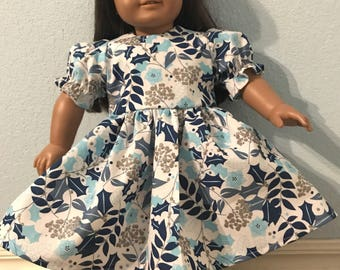 Sparkling Blue & Silver Dress for American Girl or Other 18 inch Doll