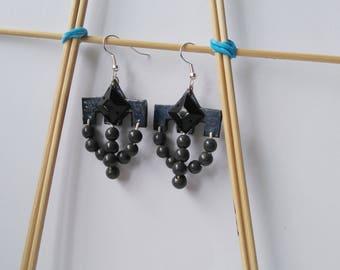 FREE SHIPPING. Gray handmade earrings with beads