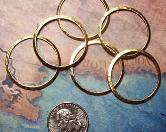 4 PC Large Hammered Brass Ring Jewelry Finding / Art Embellishment - G0146