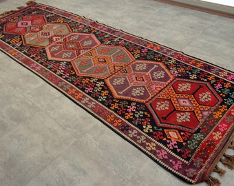 "4' x 11'10'' Anatolia Turkish Kilim Rug Hand Woven Flat Weave Wool Runner Area Rug 48"" x 142""  FREE Shipping to USA from Turkey"