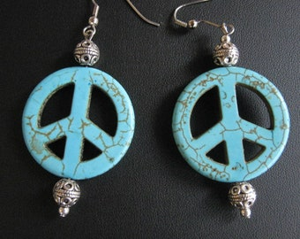 Turquoise Peace Sign Dangle Earrings