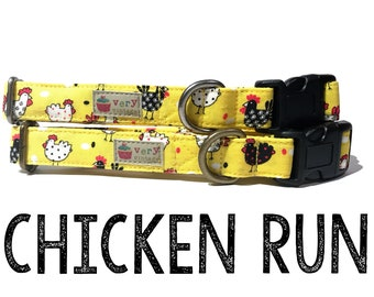 "Whimsical & Fun Country Farm Yellow Black White Chicken Rooster Dog Collar - Antique Metal Hardware - ""Chicken Run"""