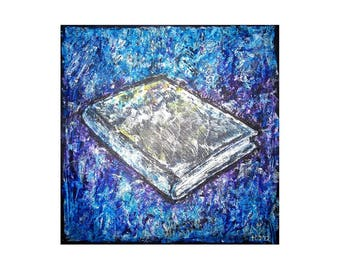 Poster of colorful painting ' book '. Bible. Blue. Interior.