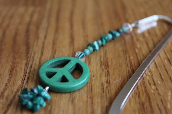 Peace Sign Beaded Bookmark, Teen Gift for Girl, College Gift Peace Decor, I'd Rather be Reading