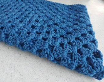 Blue Single Granny Square Crochet Baby Blanket
