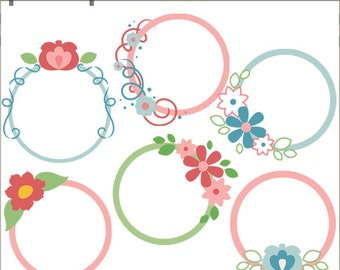 Floral Frame Clipart  -Personal and Limited Commercial Use- circle frame clip art
