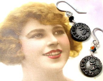 Lacy Antique BUTTON earrings, Victorian black glass with moon & flowers. One of a kind button jewellery.