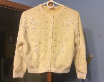SALE!! Vintage 1950's Hand Beaded Cardigan Sweater by Lily Koo  Rockabilly Retro