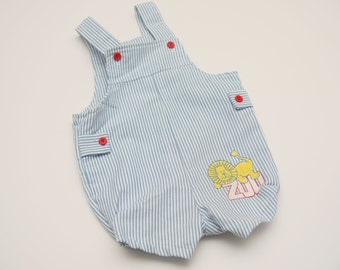 Adorable Vintage Twill Baby Overalls Outfit - Lion with Zoo - Buster Brown - 6 to 9 Months - CUTE!
