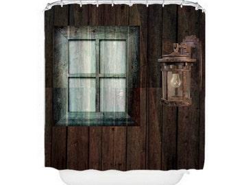 Rustic Primitive Weathered Wood Shower Curtain Barn Lantern Window