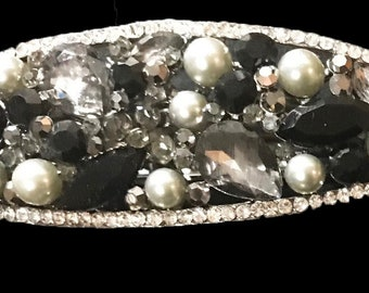 New  Art Deco Silver And Black With Rhinestone Cluster 3 1/2'' Hair Barrette