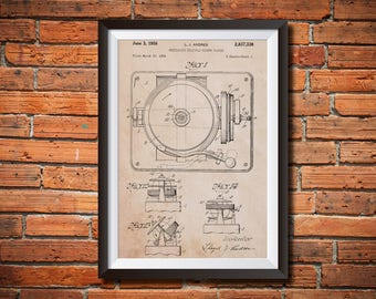 Record Player Patent Poster, Turntable Vinyl Player Patent Print, Music Room Decor, Music Lover Gift, Gift for Musician, Gift for DJ