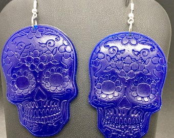 Blue sugar skull earrings