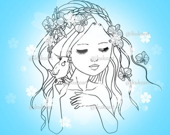 Orchid Girl - Line Art Digital Stamp Image Adult Coloring Page Printable Instant Download