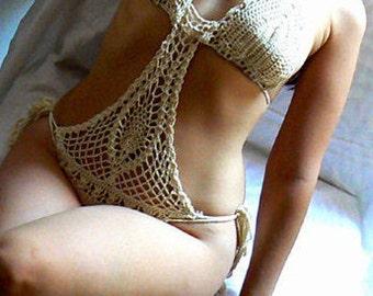 Lace crochet monokini- Women boho sexy swimsuit- Beige crochet onepiece lingerie -Size Small- Beachwear -Fashion crochet monokini -swimwear