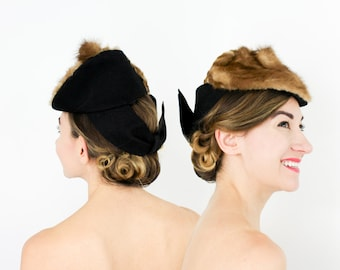 40s Black Tilt Hat | Black Wool Felt & Fur Fascinator | Brown Mink Fascinator | Large Black Bow